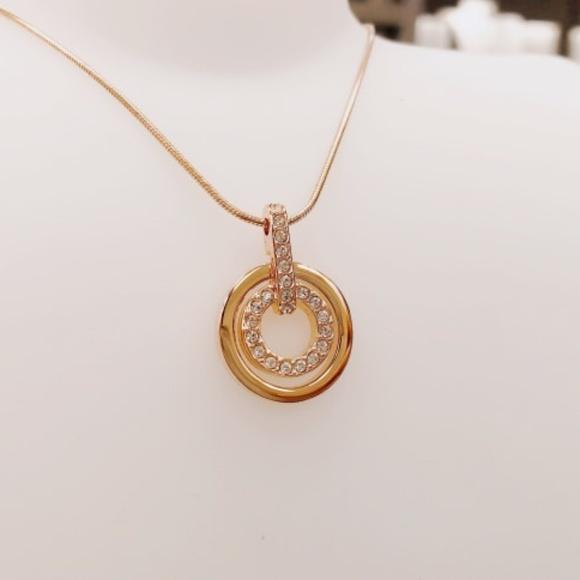 1c74fb5e0 Swarovski Jewelry | Circle Pendant White Rose Gold Plating | Poshmark